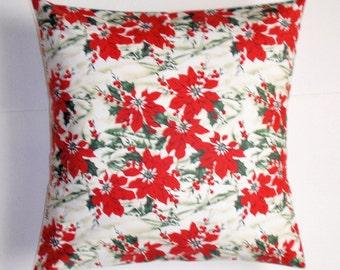 SUMMER SALE - Handmade CHRISTMAS Throw Pillow Cover, Scenic Christmas Poinsettias & Snow Accent Pillow Cover, Floral Christmas Cushion Cover