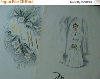 ON SALE Antique Early 1920s French Divine Wedding Menus for Madame Francisco