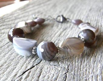 Botswana Agate Bracelet, Grey, Cream, Brown Gemstone Bracelet