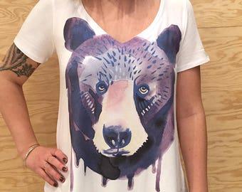 Watercolor Bear Bamboo Vneck T-Shirt