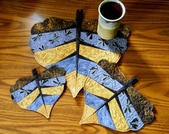 4 Sizes - Cottonwood Leaves - Placemats - Mug Rugs - Candle Mats - Table Toppers - Pot Holders - Ornaments - Trivets - PDF Pattern