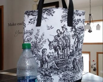 Black and White Toile Market / Lunch / Shopping /  Grocery / Reusable Tote / Choice Handles / Unlined