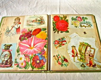 Antique Scrapbook Late 1800's-Early 1900's Paper Ephemera/Colorful Floral/ Fruit/Seed Catalog /Calling Card/Portraits/Children/Dogs/Ads