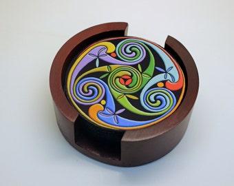 Celtic Triskelion Coaster Set of 5 with Wood Holder