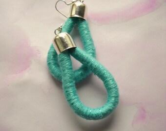 Drop Earrings - ThousandTwist Classic in cotton- Fiber earrings - Blue Pastel - Pop, Casual, Chandelier earrings by FridaWer