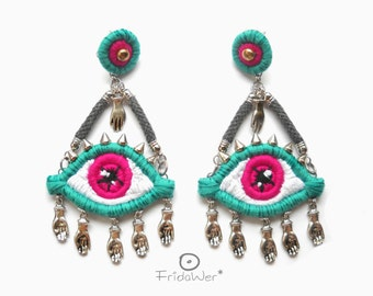 Statement Eye Earrings chandelier studs-ThousandEyes Green and Hot Pink-embroidered earring textile jewelry eye earrings statement jewelry