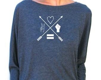 Womens Long Sleeve Shirt - Moral Compass - Bella Flowy Jersey Dolman Top -  Small, Medium, Large, xl, 2xl