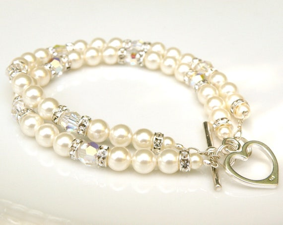 Double Strand Pearl Bracelet, Swarovski Pearls and Crystal Wedding Jewelry, Sterling Silver, White Ivory Bridal Bracelet, Bride Accessory
