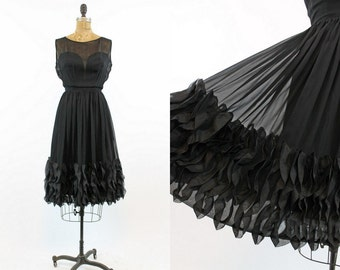 50s Dress Chiffon XS / 1950s Vintage Dress Full Ruffle Skirt  / Paulette Goddard Dress