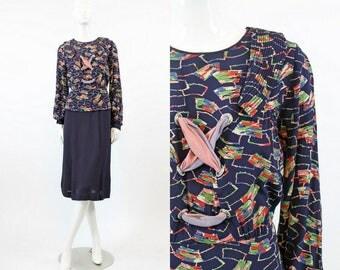 30s 40s Dress Novelty Print Small Medium / 1940 Vintage Peplum Dress Rayon / Lace Me Up Dress