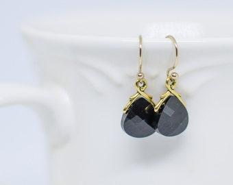 Jet Crystal Teardrop Earrings, Swarovski Crystal black Crystal Briolette Earrings