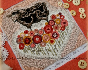 Baa Baa Black Sheep Valentine Posies Flowers Heart Punch Needle Embroidery DIGITAL Jpeg PDF PATTERN Michelle Palmer Painting w/Threads