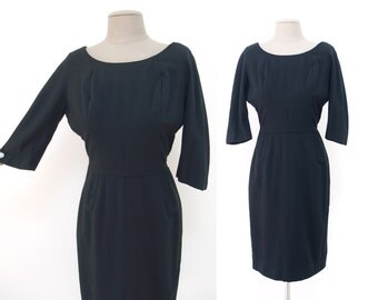 Vintage Black Wool Dress // Curvy Bombshell - 38 bust 26 waist // lined 3/4 sleeves XS/S 60s 70s