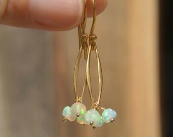 Welo Ethiopian Faceted Opal Earrings Gold Opal Earrings
