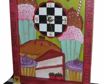 BAKERS CLOCK, Ready to Ship, Childrens clock, baking clock, hand painted clock, whimsical clock, purple clock, mantle clock, clock