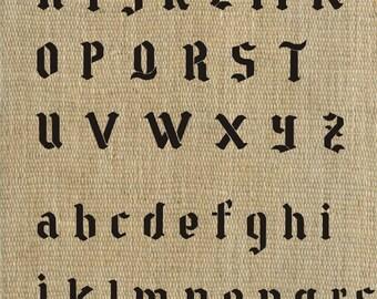 Letter Stencil Gothic Alphabet Stencil, Plaster Stencil, Furniture Stencil Wall Stencil