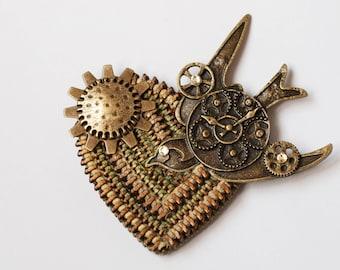 Steam Punk Birdie Zipper Brooch - Vintage Zippers - Recycle  - Reuse - Repurpose - Zipperedheart