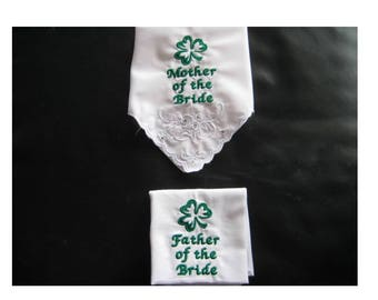 Embroidered Irish Wedding Handkerchiefs - Mother of Bride - Father of Bride - With a Shamrock