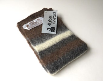Icelandic vintage Alafoss Icewool  Brown, Grey and Ivory Striped Scarf NOS / Narrow Short Sheepswool Scarf / Made in Iceland