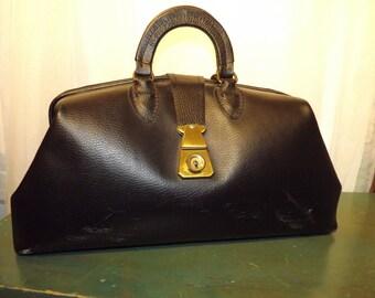 Vintage Black Leather Doctors Bag made in USA