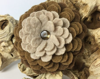 Camel Brown Ombré Felted Wool Pin with Button Center