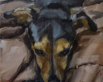 STUDIO SALE Gold, Tan and Black Terrier on Brown Background  - Original Painting by Clair Hartmann