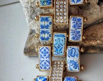 Portugal Antique Azulejo Tile Bracelet - 20 Individually Placed Azulejo Tiles - Majolica  Mosaic GORGEOUS OOAK