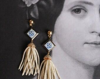 Pearl Beaded Fringe Earrings with Portugal  Portuguese Antique Azulejo Tile Majolica Tassel  AvEIRO Blue - Geometric - Gift Box Included