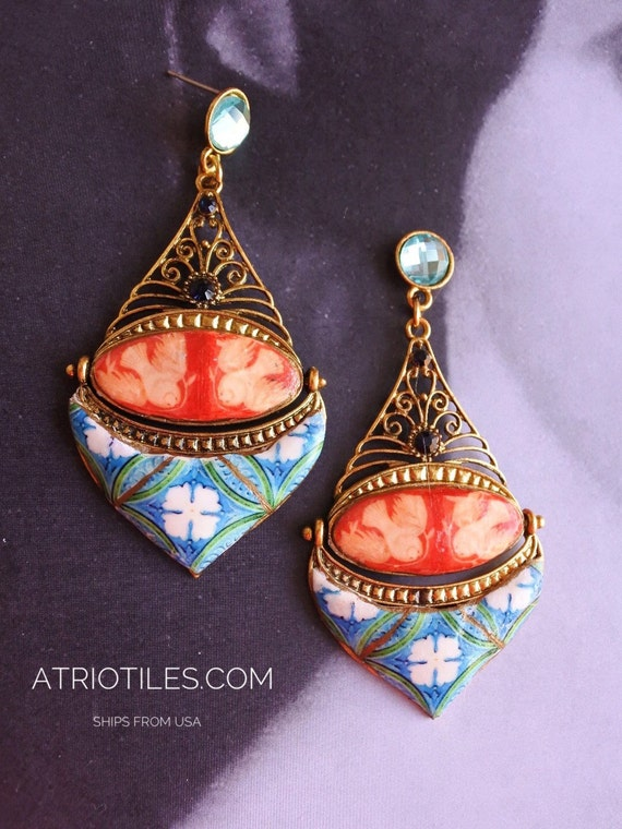 Portugal  Antique Azulejo Mosaic Tile Replica Earrings,  Aveiro Blue and Green with Sintra Dove Frescoes from the National Palace Chapel