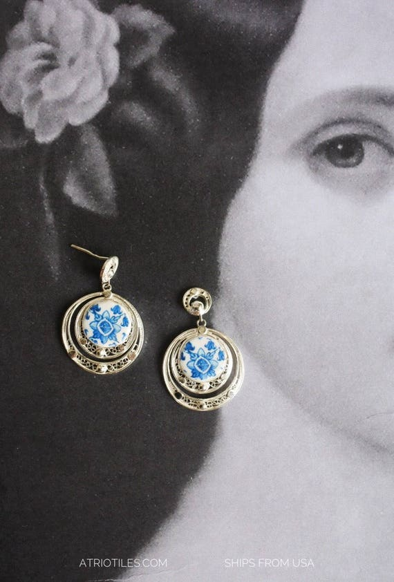 Portugal SILVER FILIGREE Earrings - with 16th Century Azulejo tiles from Tomar! Metalwork Filigrana