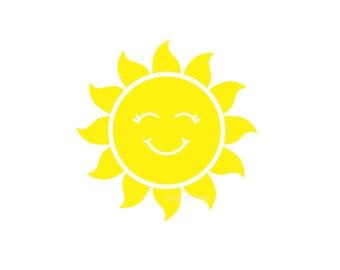 Sun Decal, smiling sun, vinyl wall decal, sunshine, sun sticker, yellow sun, nursery room decals, vinyl sun, sun with smile, large size