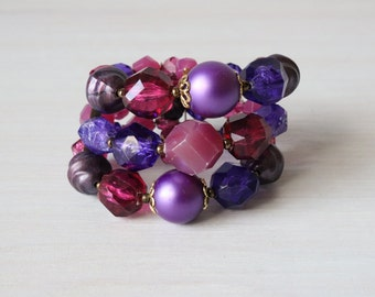 Vintage Purple 1950s Expansion Spiral Bracelet / Purple Bracelet / 50s Expansion Bracelet / Grape