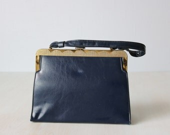 Vintage 1960s Navy Blue Patent Vinyl Top Handle Handbag Purse / Frame Handbag