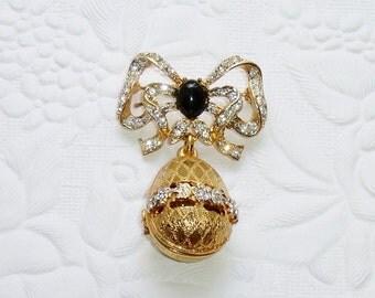 Vintage Crystal Rhinestone Gilted Egg Brooch With Bow, Signed Craft, Gem-Craft