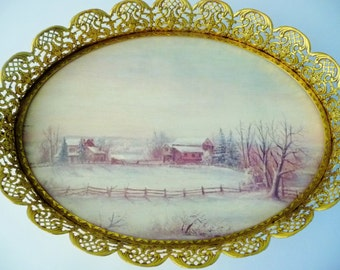 Vintage Vanity Oval Tray Gold Tone Filigree Metal Edge - Winter Home Barn Country Scene 1970's