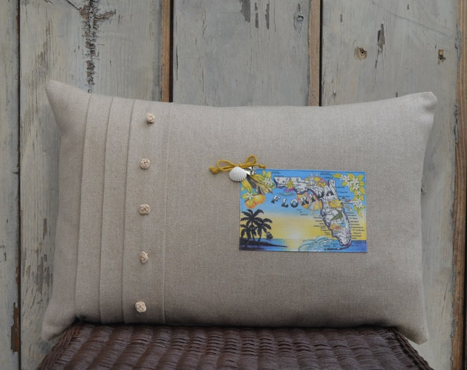 Florida Palm Trees Postcard Pillow  (available in 4 styles)