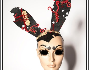 Road Kill.... Medical Fetish Themed Bunny Ears With Blood and Bandaids and Aged Gold Grommets