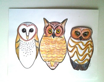 North American Owls Print, Barn owl, No. Saw-whet owl, Great horned owl