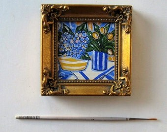 Original Acrylic painting on canvas, framed miniature painting, Hydrangeas, yellow tulips, blue and yellow, French Country Decor, gift idea