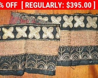 Unique and Gorgeous Antique Ethnic Sumatra 18thc Tapestry Border
