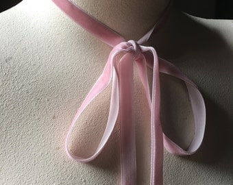 3 yds. Pink Rose Velvet Ribbon for Bridal, Jewelry or Costume Design, Millinery, Couture, Floral Supply VL 175