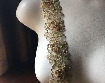 """18"""" GOLD  3 D Lace Alencon Lace Trim for Bridal, Garments, Costumes"""