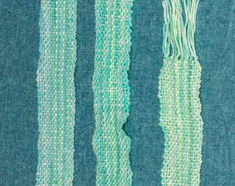 Women's Scarf , Handwoven Cotton in Soft Pastels of Sea Greens and Blue