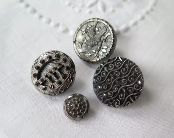 Antique Black Glass Buttons with Silver Luster Collection of Five
