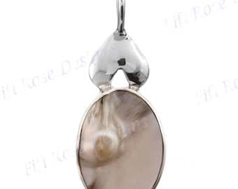 "1 7/16"" Exquisite Blister Pearl 925 Sterling Silver Pendant"