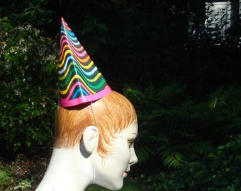 MOD Vintage Paper Party Hats..Pack of 10 Cone Hats.1970s OP ART..Psychedelic..Japan, Nostalgia for Baby Boomers