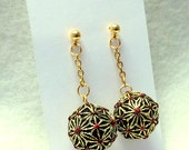 Teenie Temari Earrings (pierced or clip-on) - AsaNoHa, Gold and Red on Black