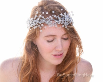 Silver and Crystal Wired Bridal Crown, Crystal Wreath Headpiece Beaded Flower Crown, New Years Eve Party Winter Wedding Holiday Hair Vine