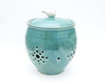 Reserved for Juliette:   Garlic Keeper // Garlic Jar in Robins Egg Blue with a White Bird