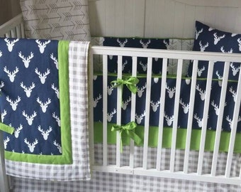 Green Navy and Tan Deer Arrows Baby Boy Bedding Crib Set READY TO SHIP